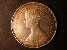 London Coins : A126 : Lot 919 : Crown 1847 Gothic UNDECIMO ESC 288 EF with light golden tone