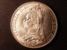 London Coins : A126 : Lot 927 : Crown 1889 ESC 299 Davies 484 dies 1C Lustrous UNC with minor contact marks