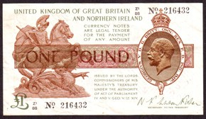 London Coins : A128 : Lot 103 : Treasury £1 Warren Fisher T34 prefix Z1/88, control note, Northern Ireland issue 1927&...