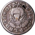 London Coins : A129 : Lot 1088 : Pledge Penny Elizabeth I 1601 in silver Peck 3 Fine or slightly better, pierced at 1 o'clock on ...