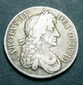 London Coins : A129 : Lot 1141 : Crown 1682 2 over 1 with QVRRTO error edge ESC 65B a bold Fine, Rare