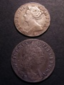 London Coins : A129 : Lot 1733 : Shilling 1696E ESC 1084 VF pitted, Sixpence 1708E ESC 1591 Good Fine