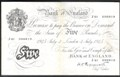 London Coins : A129 : Lot 307 : Five pounds Peppiatt white B255 thick paper dated 3rd July 1945 prefix J61, toning down centre&#...