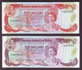 London Coins : A129 : Lot 523 : Belize 1980 issues (2) $10 1.6.1980 P40 and $5 1.6.1980 P39 both Unc
