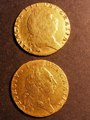 London Coins : A130 : Lot 1256 : Guineas (2) 1791 S.3729 Good Fine plugged, 1793 S.3729 VG/Fine ex-jewellery