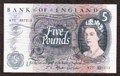 London Coins : A130 : Lot 132 : Five pounds Fforde B312 issued 1967 first series prefix R77, aU-UNC