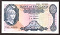 London Coins : A130 : Lot 149 : Five pounds O'Brien B277 Helmeted Britannia issued 1957 prefix C56, about UNC
