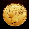London Coins : A130 : Lot 1880 : Sovereign 1851 Marsh 34 NEF
