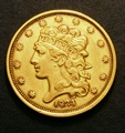 London Coins : A130 : Lot 578 : USA 5 Dollars Gold 1834 First Head Centre stroke of 8 thick, large knobs to 3's, Plain 4 Bre...