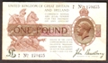 London Coins : A130 : Lot 90 : Treasury one pound Bradbury T16 issued 1917 prefix H/8, pinholes, Fine+