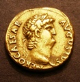 London Coins : A130 : Lot 928 : Aureus Nero Sear 669 Obverse Laureate Head right, Reverse Salus seated left holding patera VF