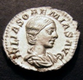 London Coins : A131 : Lot 495 : Roman, Julia Soaemiais, mother of Elagabalus, Denarius, Obverse Draped Bust IVLIA SO...