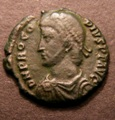 London Coins : A131 : Lot 497 : Roman, Procopius AE3 Heraclea, Diademed, draped and cuirassed bust left DN PROCOPIVS PF ...
