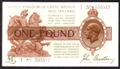 London Coins : A132 : Lot 127 : Treasury £1 Bradbury T16 issued 1917, No.D/5 555512, Pick351, lightly cleaned &...