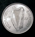 London Coins : A132 : Lot 715 : Ireland Florin 1937 S.6626 Lustrous UNC with very few contact marks, a most attractive example a...