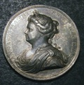 London Coins : A133 : Lot 1203 : Peace of Utrecht 1713 Eimer 460 35mm diameter in silver, Obverse draped bust left, ANNA . DG...