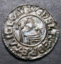 London Coins : A133 : Lot 172 : Penny Aethelred II Crux type S.1148 Lincoln mint moneyer Stignbit hairline striking split on edge ot...