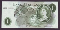 London Coins : A133 : Lot 2844 : One Pound Page. B320. W23E 000001. A nice number one note. UNC.