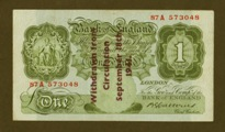 London Coins : A133 : Lot 3203 : One Pound Catterns. B226A. Guernsey overprint, withdrawn from circulation September 18th 1941. O...