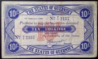 London Coins : A133 : Lot 3344 : Guernsey 10 shillings dated 1st January 1943, German occupation WW2, serial No.T/1 2157,...