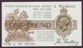 London Coins : A134 : Lot 117 : Treasury £1 Bradbury T16 issued 1917, control note last prefix Z/27, washed & pres...