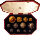 London Coins : A134 : Lot 1388 : Proof Set 1911 Long Set 12 coins £5 to Maundy Penny aFDC the gold with some minor hairlines...