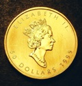 London Coins : A134 : Lot 1461 : Canada 50 Dollars Gold 1999 KM#191 Lustrous UNC with some handling marks