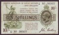 London Coins : A134 : Lot 149 : Treasury 10 shillings Bradbury T18 issued 1918 serial A/20 302427, (No. with dash), pressed ...