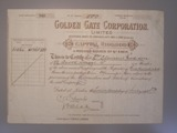 London Coins : A134 : Lot 4 : Australia, Golden Gate Corporation Ltd., share certificate, 1903, mines at Croydon&#...