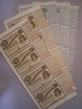 London Coins : A134 : Lot 81 : U.S.A., State of Louisiana, act of 1880, 5 x uncut sheets of 4 notes of $5 each,...