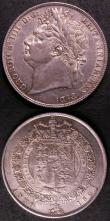London Coins : A143 : Lot 1980 : Halfcrown 1824 ESC 636 GVF, Shilling 1825 Shield in Garter ESC 1253 VF