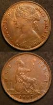London Coins : A143 : Lot 2123 : Pennies (2) 1860 Toothed Border Freeman 13 dies 3+D EF once cleaned, now retoned, 1861 Freeman 33 di...