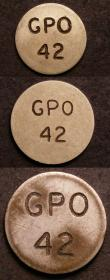 London Coins : A144 : Lot 1040 : Rhodesia Telephone Tokens (3) 24mm, 19mm and 16.5mm diameter each uniface with GPO 42 in two lines V...