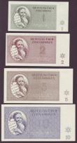 London Coins : A145 : Lot 122 : Czechoslovakia Theresienstadt WW2 ghetto scrip (7) 1, 2, 5, 10, 20, 50 & 100 kronen dated 1943, ...