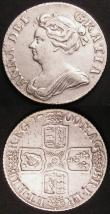 London Coins : A145 : Lot 2086 : Shillings (2) 1709 Third Bust ESC 1154 About VF, 1710 Roses and Plumes ESC 1156 Fine