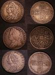 London Coins : A146 : Lot 3416 : Shillings (3) 1743 Roses ESC 1203 VG/NF, 1746 LIMA ESC 1206 Fine/Good Fine, 1758 ESC 1213 GVF with g...