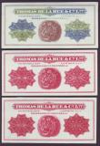 London Coins : A146 : Lot 54 : Thomas de la Rue engraving colour trials c.1920s (3) two are in shades of red and the other is multi...