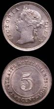 London Coins : A149 : Lot 1327 : Straits Settlements (2) 5 Cents 1901 KM#10 A/UNC, Quarter Cent 1916 KM#27 A/UNC with few small rim n...