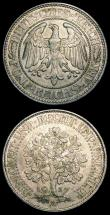 London Coins : A150 : Lot 1007 : Germany - Weimar Republic 5 Marks (2) 1927A KM#56 A/UNC with dull tone, 1929D Graf Zeppelin Flight K...