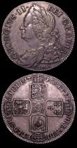 London Coins : A150 : Lot 2445 : Halfcrowns (2) 1689 First Shield, Caul only frosted, with pearls ESC 505 Good Fine with a flan crack...