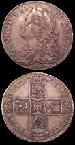 London Coins : A150 : Lot 2447 : Halfcrowns (2) 1745 LIMA ESC 605 Near Fine/Fine, 1746 LIMA ESC 606 Fine/Good Fine nicely toned