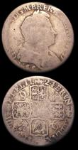 London Coins : A150 : Lot 2771 : Shillings (2) 1724 WCC ESC 1182 only Fair, very rare in any grade, 1723 SSC French Arms at date ESC ...