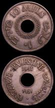 London Coins : A151 : Lot 1126 : Palestine (2) 10 Mils 1941 Cupro-Nickel KM#4 VF, the obverse with some spots, 10 Mils 1942 Bronze KM...