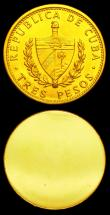 London Coins : A151 : Lot 859 : Cuba 3 Pesos 1990 Obverse and Reverse trial uniface pair, struck in gold, design as KM#346, 13.00 gr...