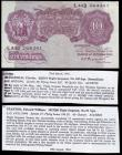 London Coins : A151 : Lot 88 : Ten shillings Peppiatt mauve B251 issued 1940 series L44D 264361, a short snorter, the reverse is si...