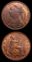 London Coins : A152 : Lot 2499 : Pennies (2) 1877 Freeman 91 dies 8+J GEF and lustrous with some contact marks and small spots, Ex-Cr...