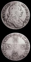 London Coins : A152 : Lot 2636 : Crowns (2) 1696 First Bust First Harp OCTAVO a Bold Fine small metal fault to rim at 7 o'clock ...