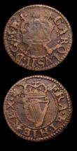 London Coins : A153 : Lot 1047 : Ireland Farthings Charles II Armstrong types (2) S.6556 both with inverted die axis VG