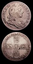 London Coins : A153 : Lot 2702 : Crowns (2) 1696 OCTAVO ESC 89 Fine/VG, 1707E SEXTO ESC 103 Fine the reverse with some scratches