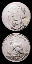 London Coins : A153 : Lot 835 : Australia - Queen Elizabeth and Prince Philip (2) by S.G.M.Adams of Leeds 32mm diameter in base meta...